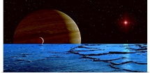 Jupiter and its moon Lo as seen from the frozen surface of Jupiters moon Europa