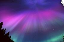 Aurora Corona Over Crow Creek Girdwood during Winter in Southcentral Alaska