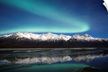 Northern Lights Over Chugach Mts  Knik River Southcentral Alaska