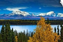 Scenic view of Mt. Sanford and Mt. Drum with Willow Lake