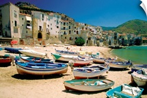 Fishing boats at Cefalu Harbor, Cefalu, Sicily, Italy