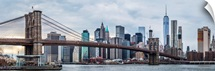 New York City Skyline with Brooklyn Bridge in Foreground