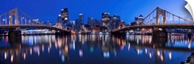 Pittsburgh City Skyline with Two of the Three Sisters Bridges at Night
