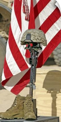 A battlefield memorial cross rifle display
