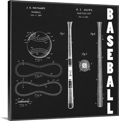Baseball blueprint wall art canvas prints framed prints wall baseball blueprint malvernweather Gallery