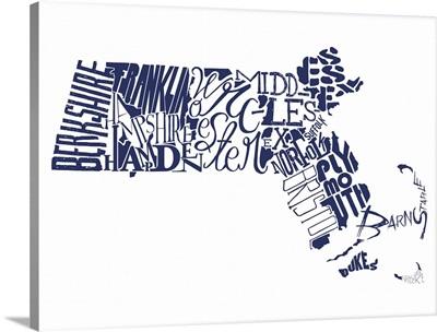 Massachusetts Typography map