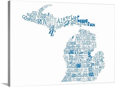 Michigan Typography map