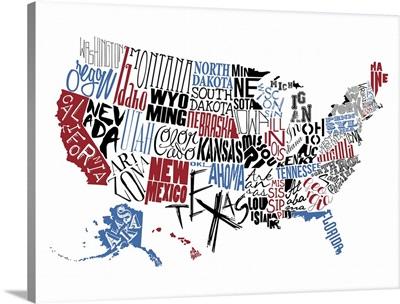 USA Typography map