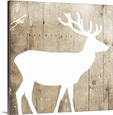 White On Wood Deer