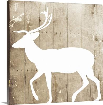 White On Wood Deer Mate