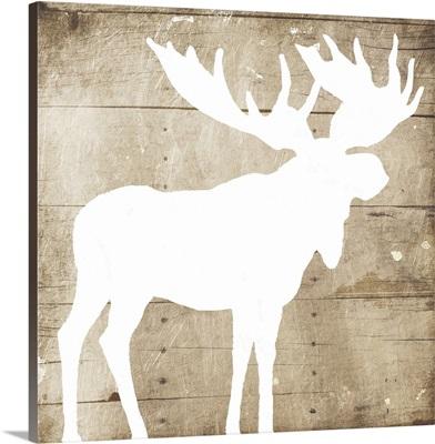 White On Wood Moose