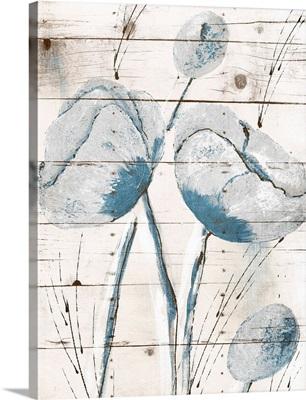 White Wood Blue Florals I