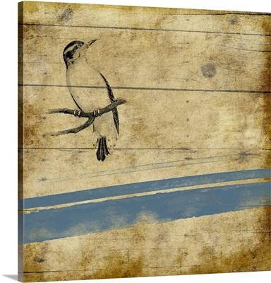 Wood Birds Blue Stripe