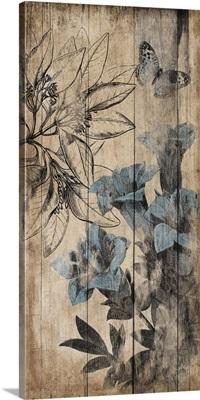 Wood Blue Floral II