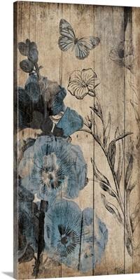 Wood Blue Florals