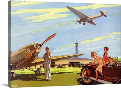 Illustration Of Family At Air Field