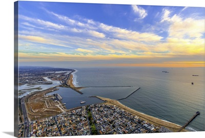 Aerial View of Anaheim Bay and Seal Beach at Sunset