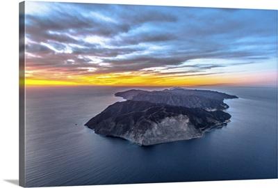 Aerial View of Santa Catalina Island at Sunset