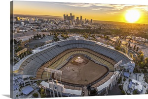 Aerial View Of The Dodgers Stadium With The Los Angeles