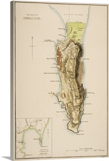 19th Century Map Of The Rock Of Gibraltar