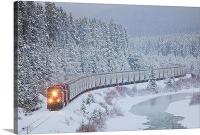 A Canadian Pacific Train, Alberta Highway 1A, Lake Louise, Alberta, Canada