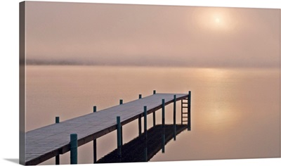A foggy sunrise over a dock in Lake Whatcom during Winter, Bellingham Washington