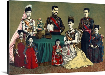 A Group Portrait Of Meiji, Emperor Of Japan And The Imperial Family