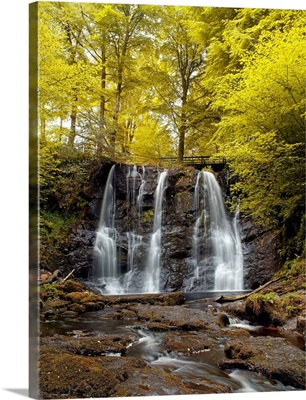 A Waterfall In A Forest, Glenariff Waterfall, County Antrim, Northern Ireland