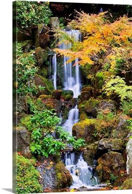 A Waterfall In The Portland Japanese Garden In Autumn, Portland, Oregon