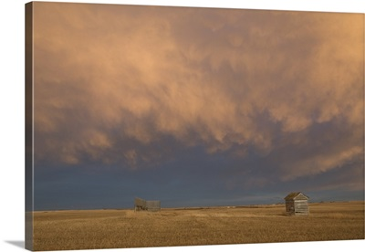 A Wooden Shack On A Wheat Field With A Cloudy Sky At Sunset, Alberta, Canada