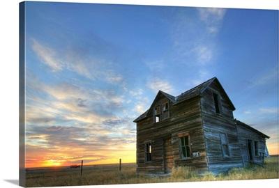 Abandoned House At Sunset, Val Marie, Saskatchewan, Canada