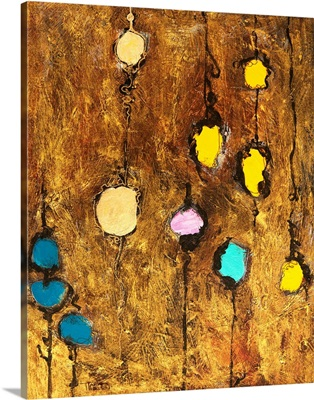 Abstract artwork of colourful circles on a brown grainy background