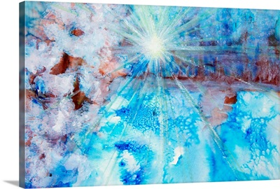 Abstract watercolour painting with a starburst