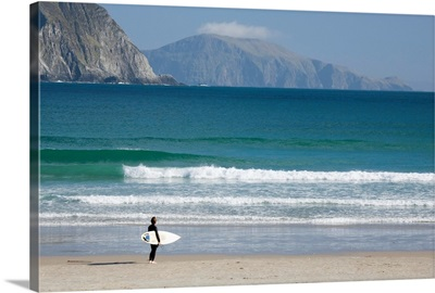 Achill Island, Co Mayo, Ireland, Surfer Walking Along Trawmore Beach