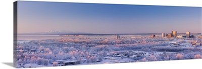 Aerial View Of Downtown Anchorage At Sunset, Hoarfrost On The Trees