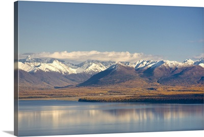 Aerial view of Knik Arm looking south towards the Chugach Mountains