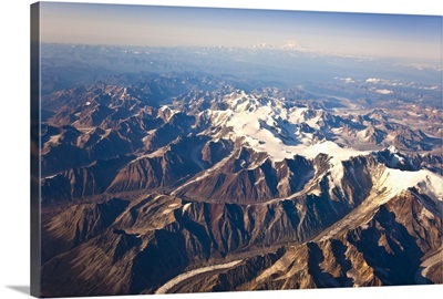 Aerial view of the Alaska Range Mount McKinley and Mt. Foraker in the far distance