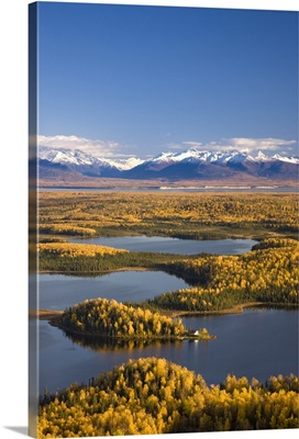 Aerial View of the lakes and Birch forests at Point Mackenzie with the Chugach Mountains