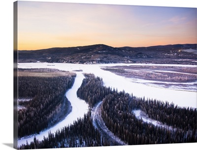 Aerial view of the Tanana River Valley at sunrise during Winter Interior Alaska
