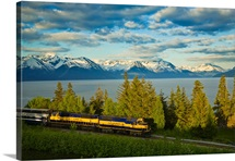 Alaska Railroad passes by Turnagain Arm near Bird Point heading towards Anchorage