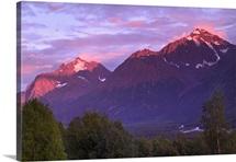 Alpenglow on Chugach Mtns in Evening SC AK Summer Eagle River Valley Eagle & Polar Bear Peak