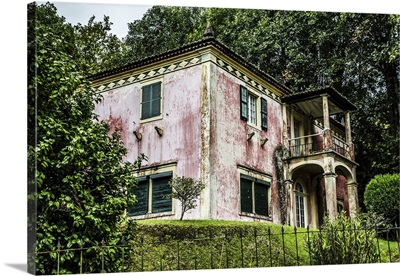 An Old House With Weathered Pink Facade, Furnas, Sao Miguel, Azores, Portugal