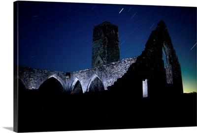 Ancient Abbey At Night, Killcrea Priory, County Cork, Ireland