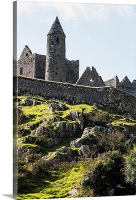Ancient stone ruin with stone wall, Cashel, Ireland