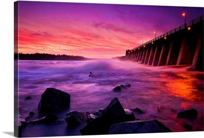 Anglier Dam At Sunset, Temiscamingue, Quebec, Canada