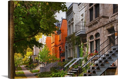 Apartment buildings along city street, Montreal, Quebec, Canada