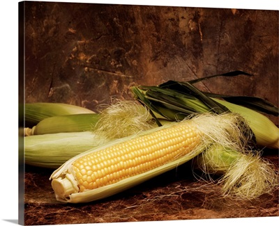 Arrangement of sweet corn ears with the husk partially removed on one, on marble
