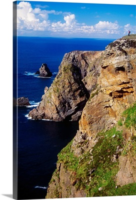 Arranmore Island, County Donegal, Ireland; Hiker On Coastal Cliff