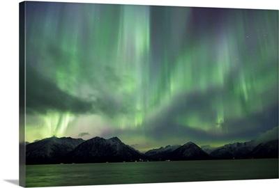 Aurora Borealis dancing above the Chugach Mountains and Turnagain Arm, Alaska