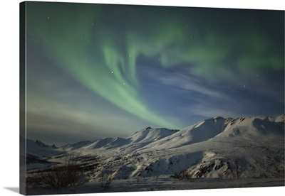Aurora borealis over the Klondike valley in Tombstone Territorial Park, Yukon